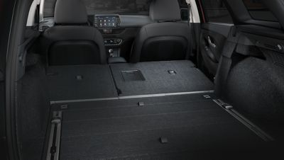 A photo showing the rear seats on the new Hyundai i30 Wagon folded flat.
