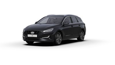 Front side view of the new Hyundai i30 Wagon in the colour Phantom Black.